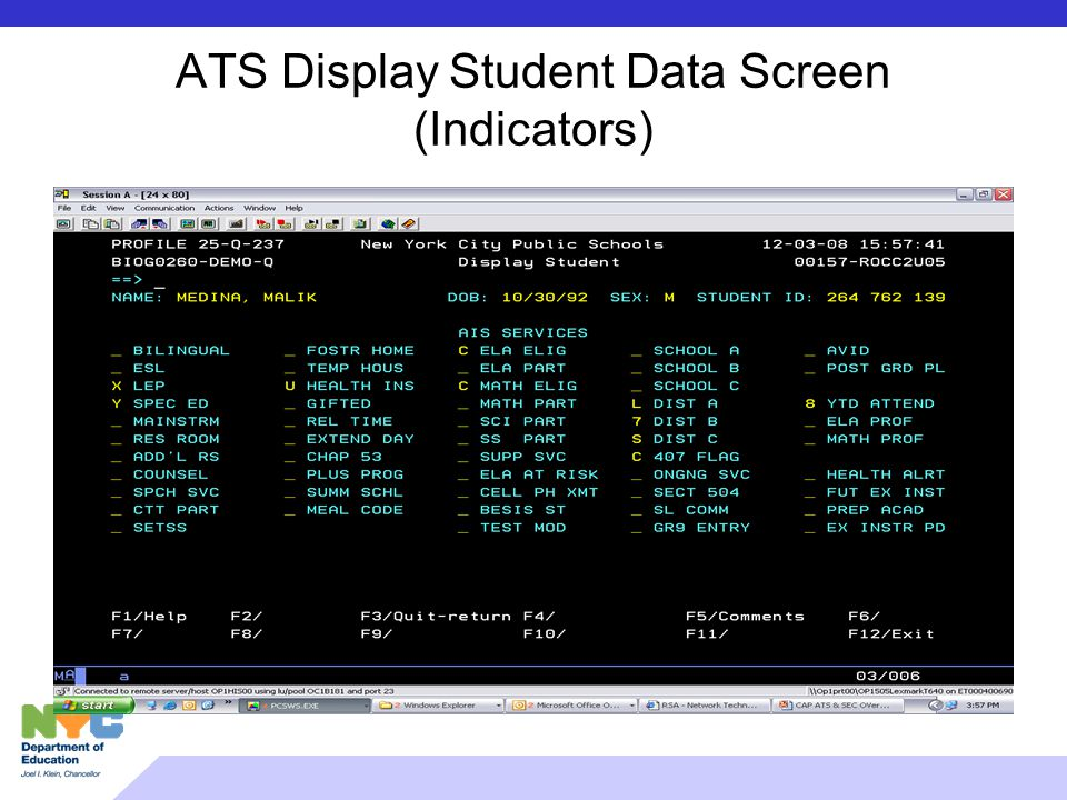 ATS Display Student Data Screen (Indicators)