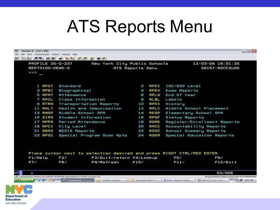ATS Reports Menu