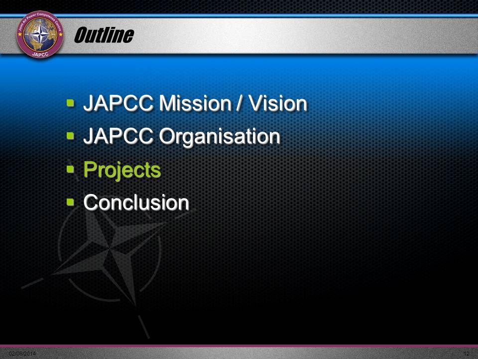 02/06/201412 Outline JAPCC Mission / Vision JAPCC Mission / Vision JAPCC Organisation JAPCC Organisation Projects Projects Conclusion Conclusion JAPCC