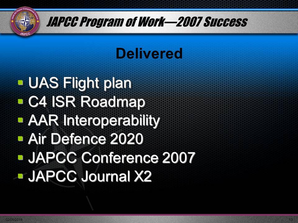 02/06/201413 JAPCC Program of Work2007 Success UAS Flight plan UAS Flight plan C4 ISR Roadmap C4 ISR Roadmap AAR Interoperability AAR Interoperability