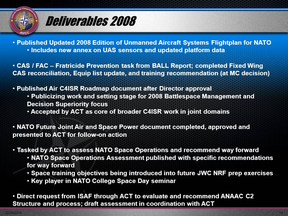 02/06/201414 Deliverables 2008 Published Updated 2008 Edition of Unmanned Aircraft Systems Flightplan for NATO Includes new annex on UAS sensors and u