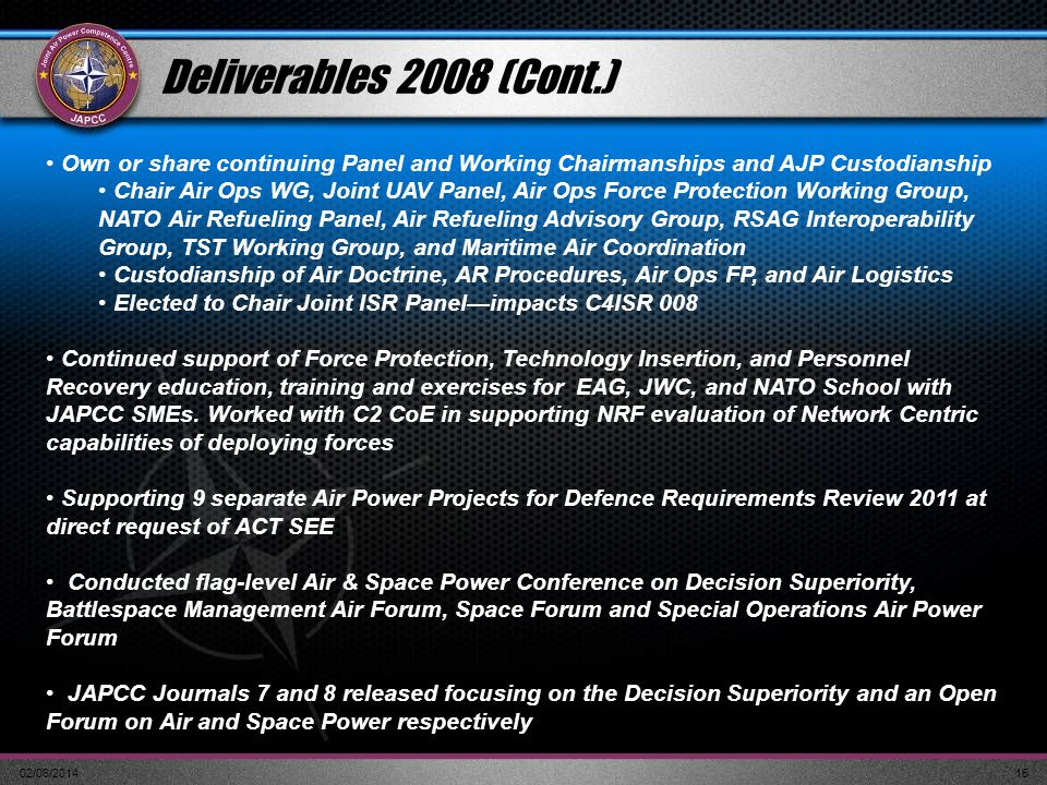 02/06/201415 Own or share continuing Panel and Working Chairmanships and AJP Custodianship Chair Air Ops WG, Joint UAV Panel, Air Ops Force Protection