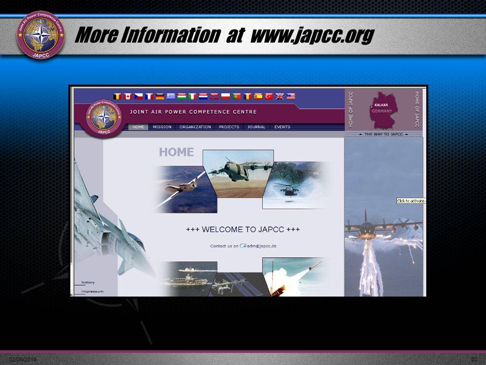 02/06/201420 More Information at www.japcc.org