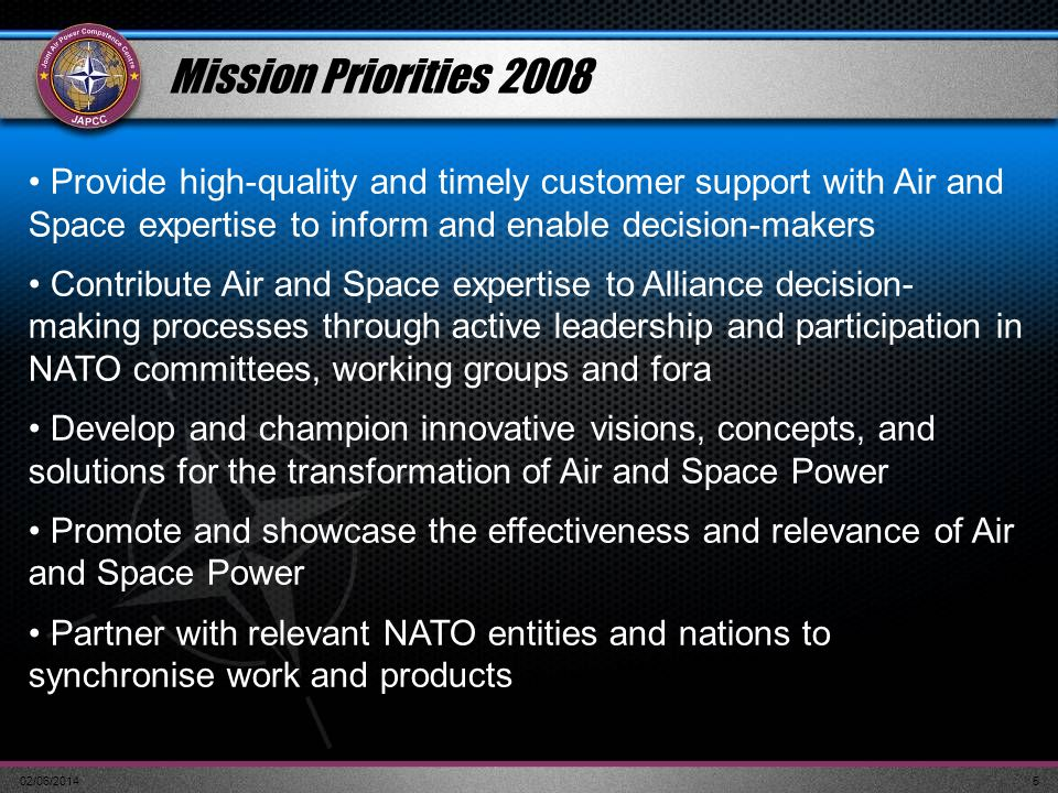 02/06/20145 Mission Priorities 2008 Provide high-quality and timely customer support with Air and Space expertise to inform and enable decision-makers