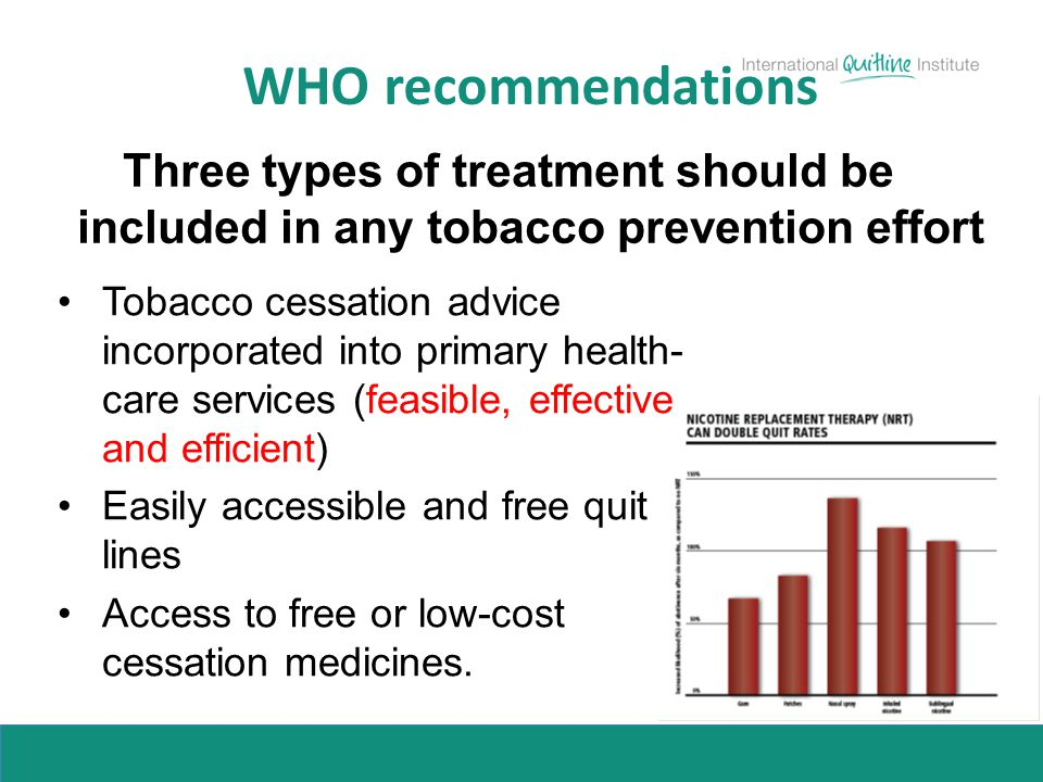 WHO recommendations Three types of treatment should be included in any tobacco prevention effort Tobacco cessation advice incorporated into primary he
