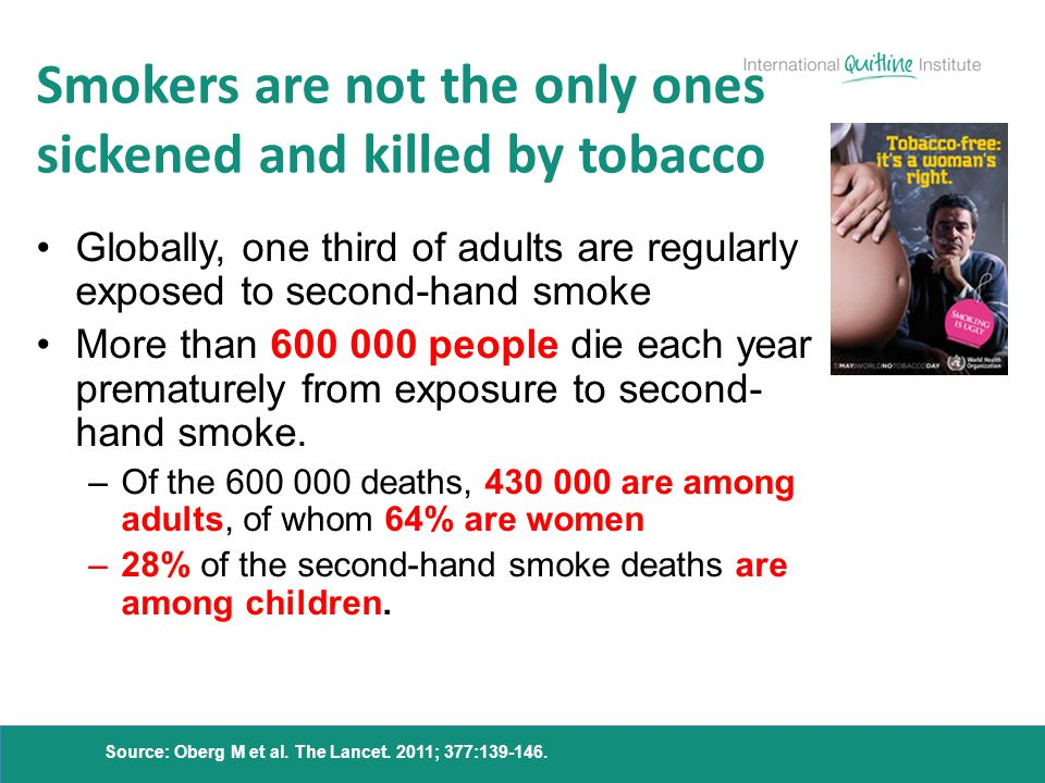 Smokers are not the only ones sickened and killed by tobacco Globally, one third of adults are regularly exposed to second-hand smoke More than 600 00