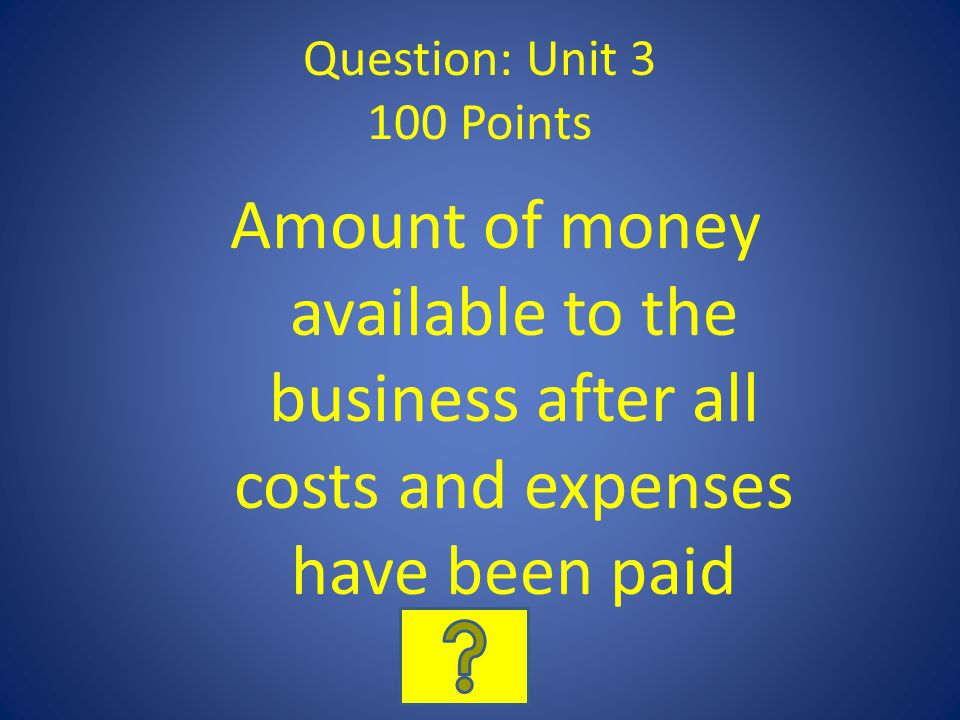 Question: Unit 3 100 Points Amount of money available to the business after all costs and expenses have been paid