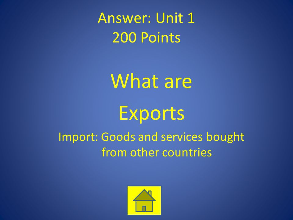 Answer: Unit 1 200 Points What are Exports Import: Goods and services bought from other countries