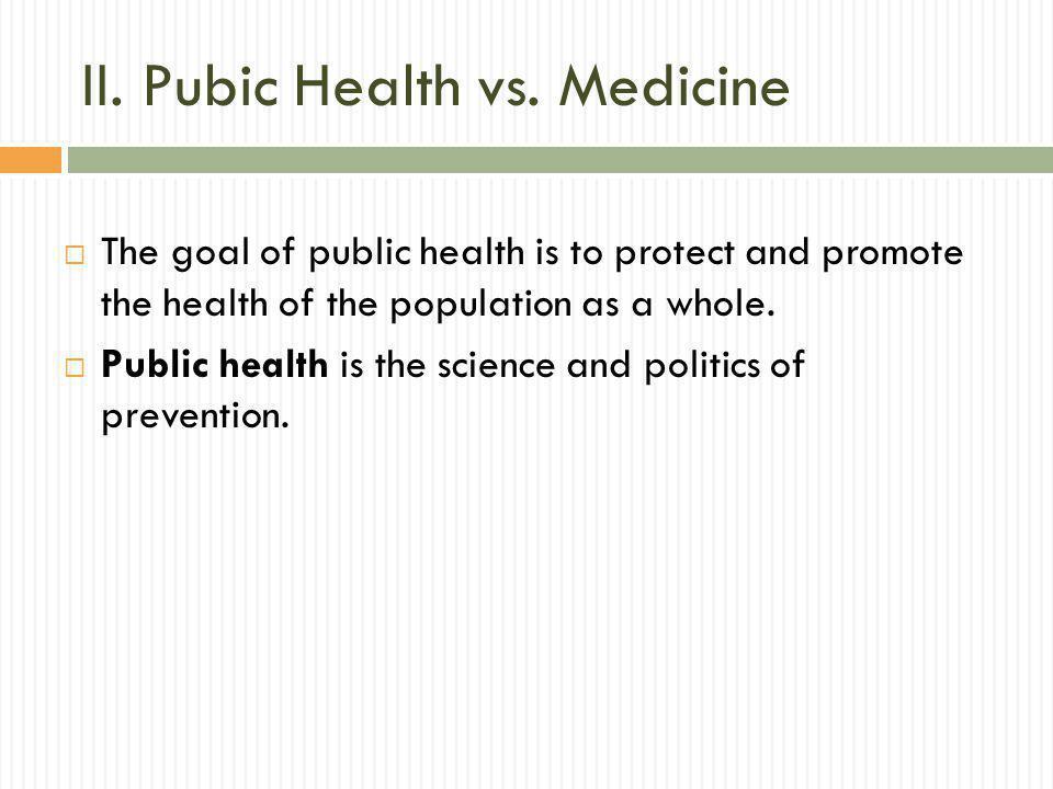 II. Pubic Health vs.