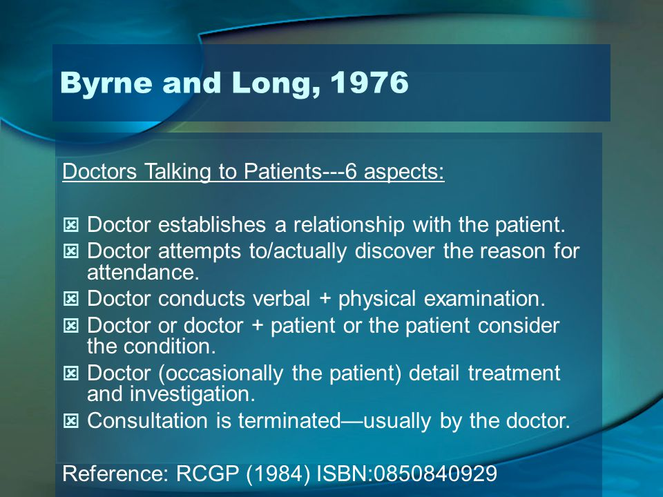 Doctors Talking to Patients---6 aspects: Doctor establishes a relationship with the patient. Doctor attempts to/actually discover the reason for atten
