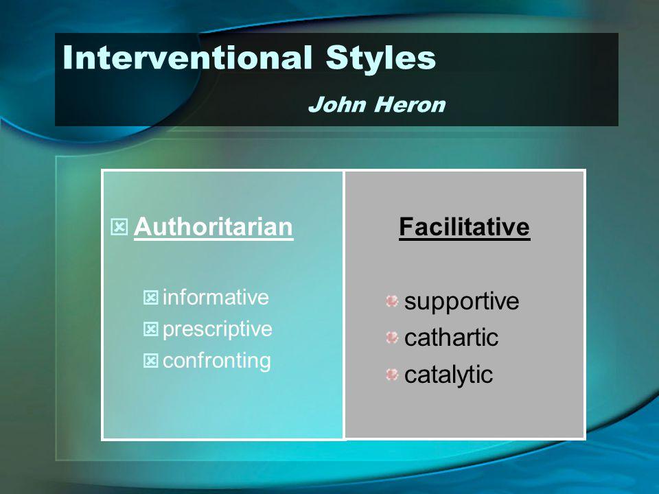 Interventional Styles John Heron Authoritarian informative prescriptive confronting Facilitative supportive cathartic catalytic