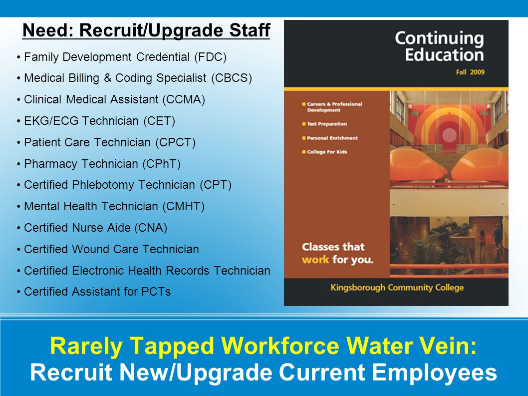 Rarely Tapped Workforce Water Vein: Recruit New/Upgrade Current Employees Need: Recruit/Upgrade Staff Family Development Credential (FDC) Medical Billing & Coding Specialist (CBCS) Clinical Medical Assistant (CCMA) EKG/ECG Technician (CET) Patient Care Technician (CPCT) Pharmacy Technician (CPhT) Certified Phlebotomy Technician (CPT) Mental Health Technician (CMHT) Certified Nurse Aide (CNA) Certified Wound Care Technician Certified Electronic Health Records Technician Certified Assistant for PCTs