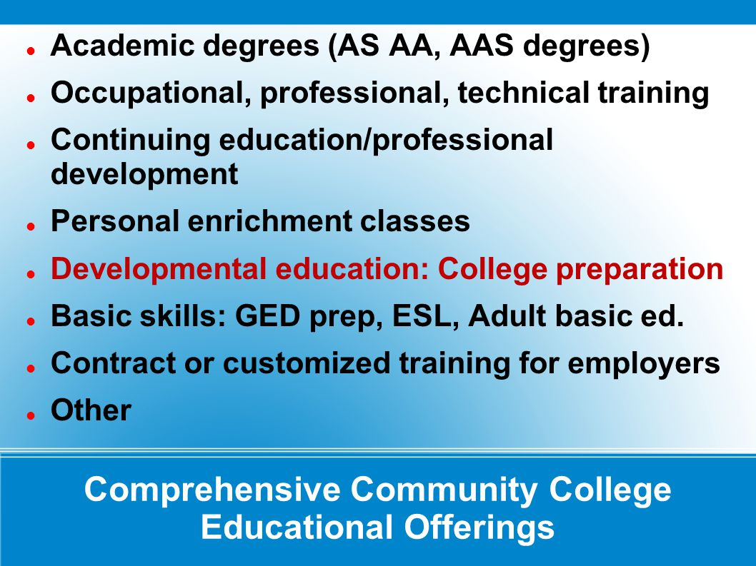 Comprehensive Community College Educational Offerings Academic degrees (AS AA, AAS degrees) Occupational, professional, technical training Continuing education/professional development Personal enrichment classes Developmental education: College preparation Basic skills: GED prep, ESL, Adult basic ed.