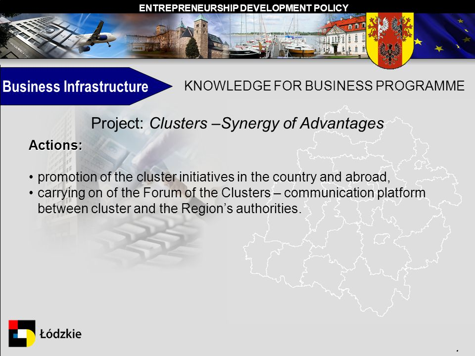 ENTREPRENEURSHIP DEVELOPMENT POLICY. KNOWLEDGE FOR BUSINESS PROGRAMME Project: Clusters –Synergy of Advantages Actions: promotion of the cluster initi