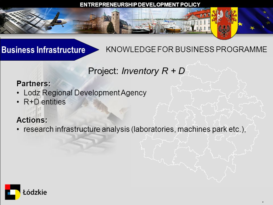ENTREPRENEURSHIP DEVELOPMENT POLICY. Business Infrastructure KNOWLEDGE FOR BUSINESS PROGRAMME Project: Inventory R + D Partners: Lodz Regional Develop