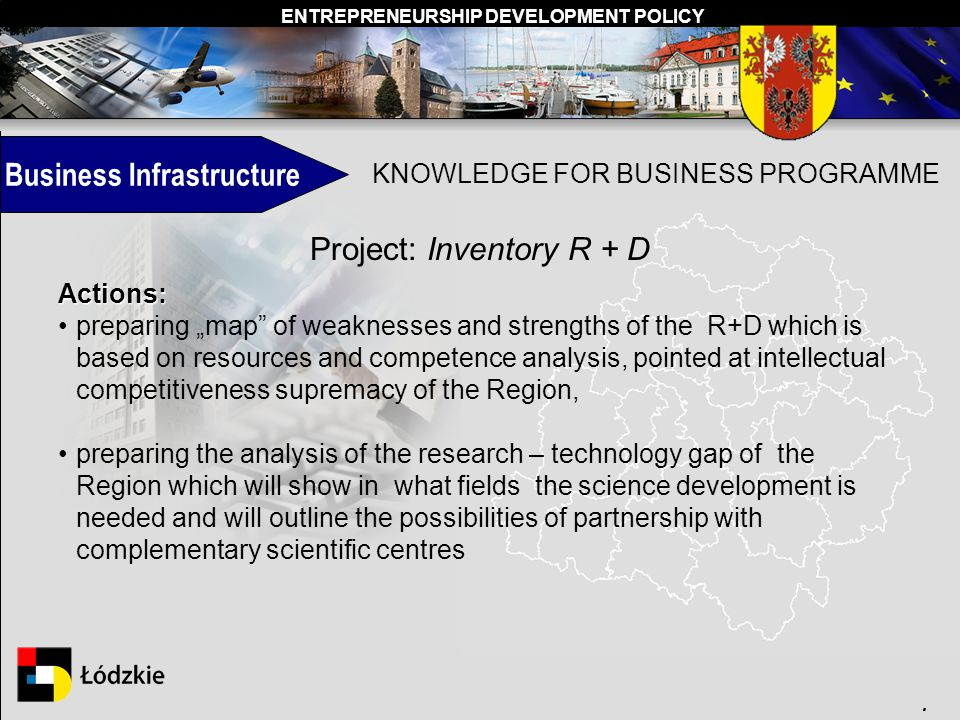 ENTREPRENEURSHIP DEVELOPMENT POLICY. Business Infrastructure KNOWLEDGE FOR BUSINESS PROGRAMME Project: Inventory R + D Actions: preparing map of weakn
