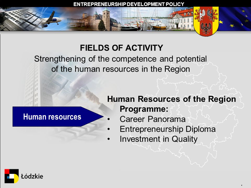 ENTREPRENEURSHIP DEVELOPMENT POLICY. Human resources Human Resources of the Region Programme: Career Panorama Entrepreneurship Diploma Investment in Q