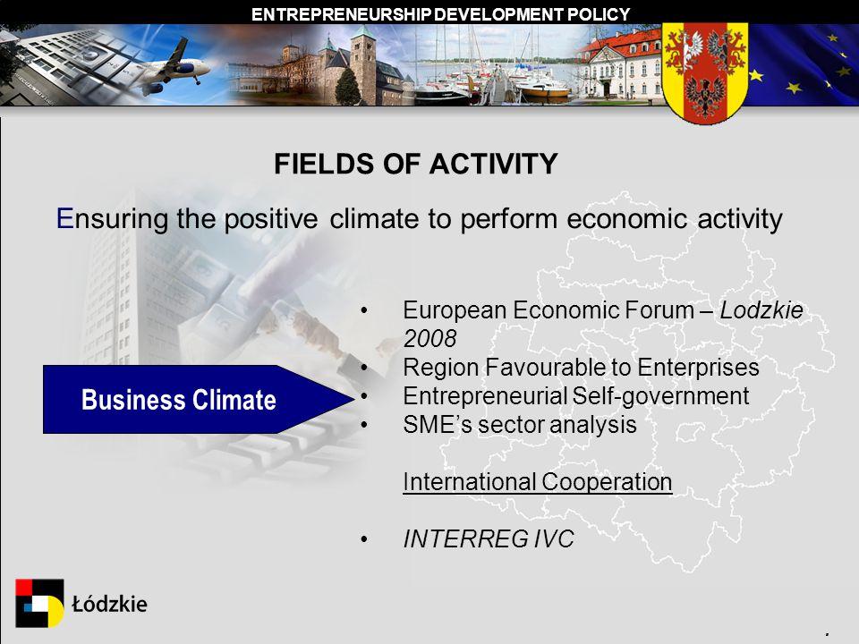 ENTREPRENEURSHIP DEVELOPMENT POLICY. FIELDS OF ACTIVITY Ensuring the positive climate to perform economic activity European Economic Forum – Lodzkie 2