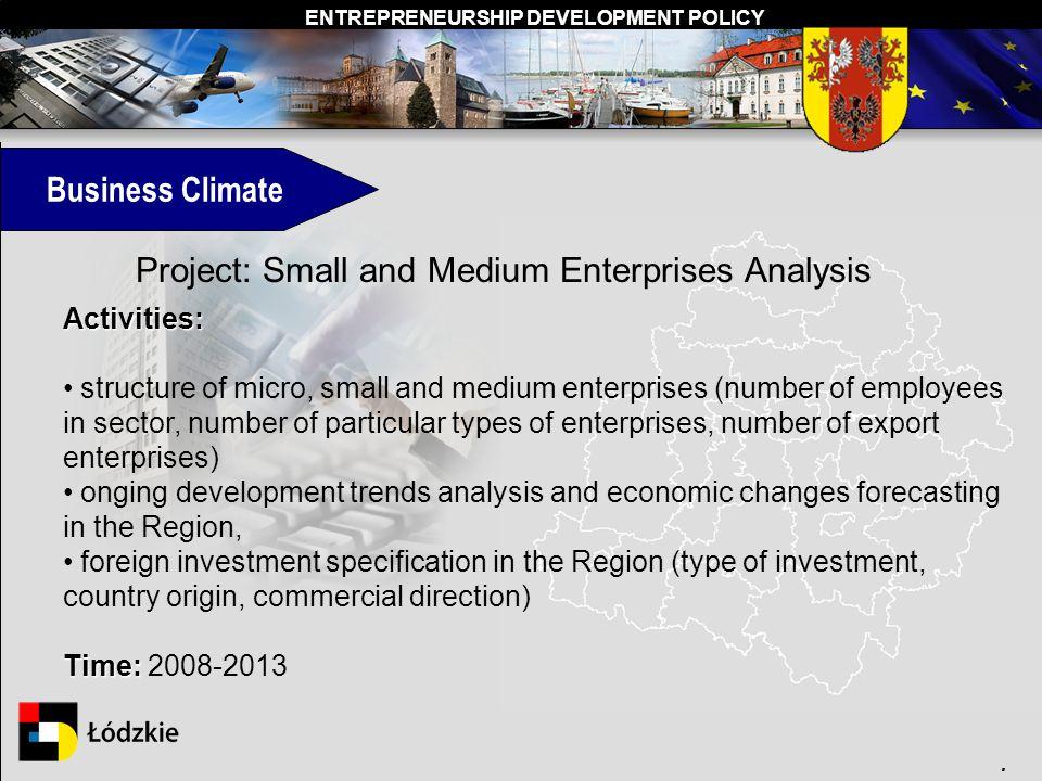 ENTREPRENEURSHIP DEVELOPMENT POLICY. Project: Small and Medium Enterprises Analysis Activities: structure of micro, small and medium enterprises (numb