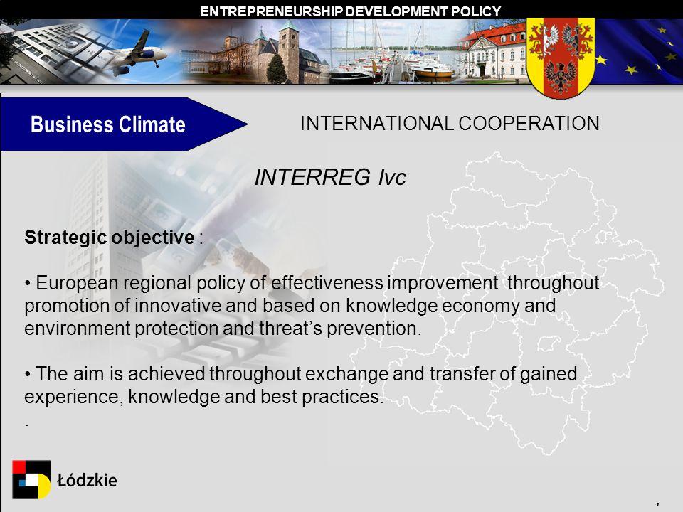 ENTREPRENEURSHIP DEVELOPMENT POLICY. INTERNATIONAL COOPERATION Strategic objective : European regional policy of effectiveness improvement throughout