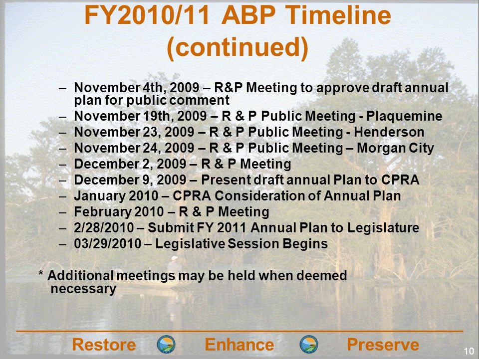 RestoreEnhancePreserve 10 FY2010/11 ABP Timeline (continued) –November 4th, 2009 – R&P Meeting to approve draft annual plan for public comment –November 19th, 2009 – R & P Public Meeting - Plaquemine –November 23, 2009 – R & P Public Meeting - Henderson –November 24, 2009 – R & P Public Meeting – Morgan City –December 2, 2009 – R & P Meeting –December 9, 2009 – Present draft annual Plan to CPRA –January 2010 – CPRA Consideration of Annual Plan –February 2010 – R & P Meeting –2/28/2010 – Submit FY 2011 Annual Plan to Legislature –03/29/2010 – Legislative Session Begins * Additional meetings may be held when deemed necessary