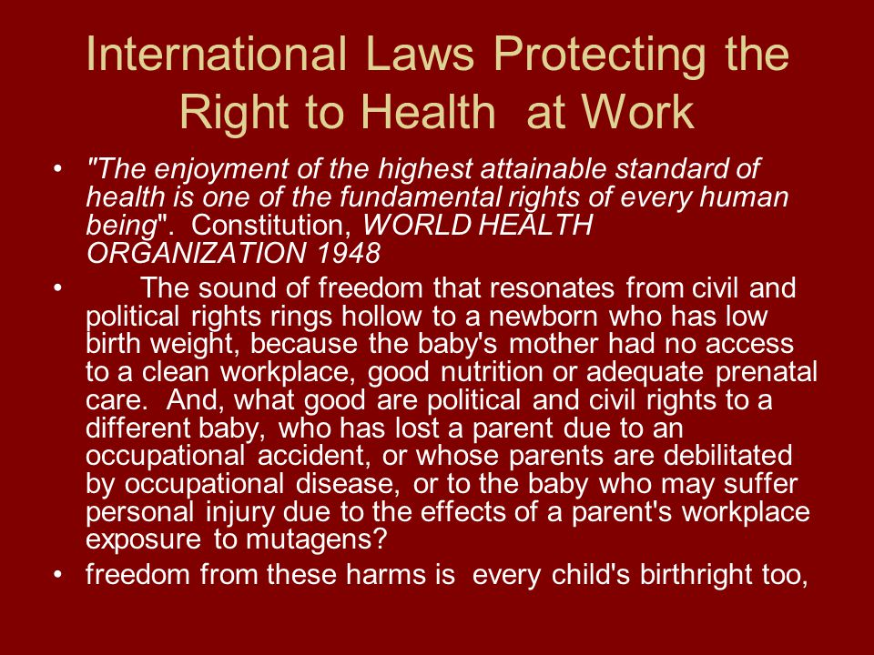 International Laws Protecting the Right to Health at Work
