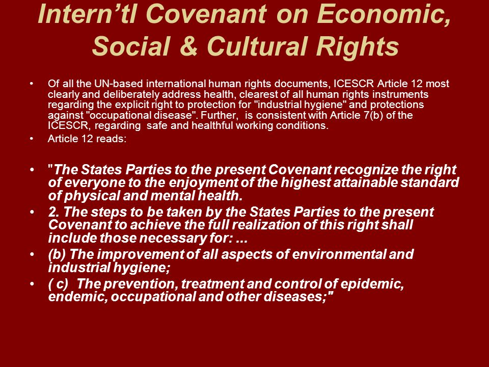 Interntl Covenant on Economic, Social & Cultural Rights Of all the UN-based international human rights documents, ICESCR Article 12 most clearly and d