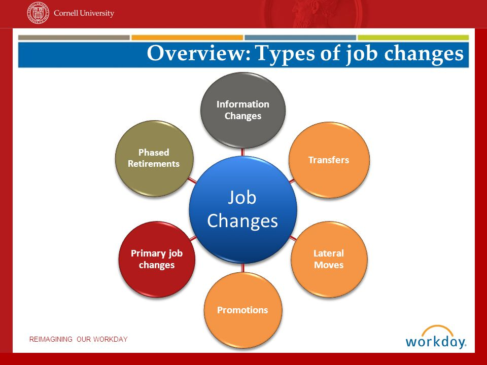 REIMAGINING OUR WORKDAY Overview: Terms & Procedures General changes Job changeEdit position Edit restrictions Moves: in/out (prefill) Lateral moveTransferPromotion Primary job change Make an additional job the primary job