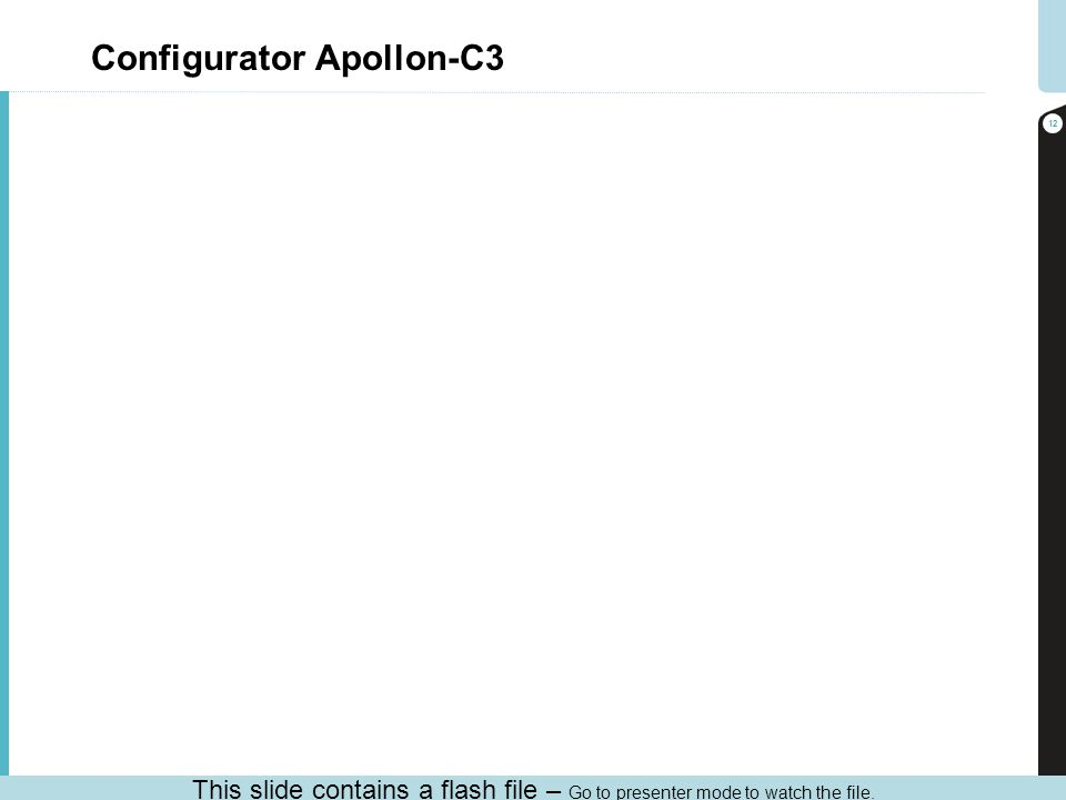 Configurator Apollon-C3 12 This slide contains a flash file – Go to presenter mode to watch the file.