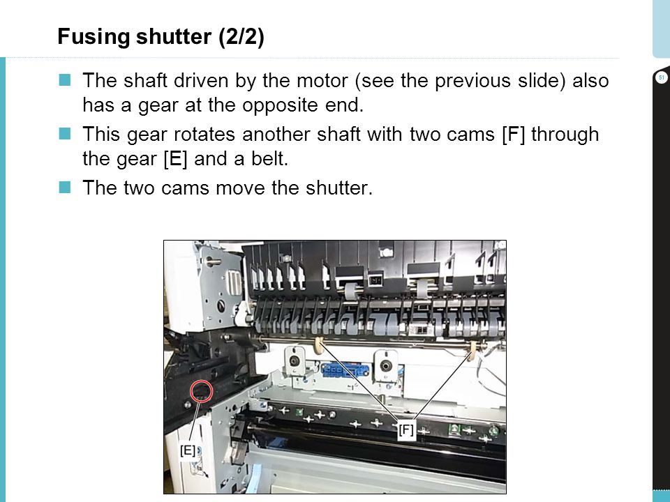 Fusing shutter (2/2) The shaft driven by the motor (see the previous slide) also has a gear at the opposite end. This gear rotates another shaft with