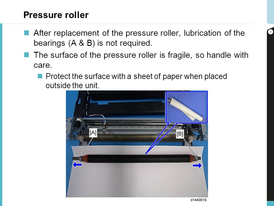 Pressure roller After replacement of the pressure roller, lubrication of the bearings (A & B) is not required.