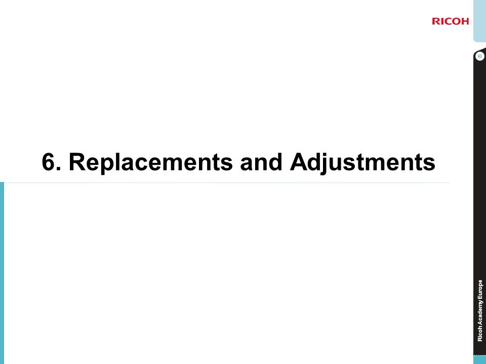 Ricoh Academy Europe 6. Replacements and Adjustments 60