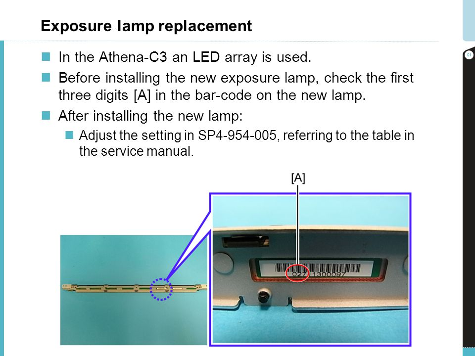 Exposure lamp replacement In the Athena-C3 an LED array is used. Before installing the new exposure lamp, check the first three digits [A] in the bar-