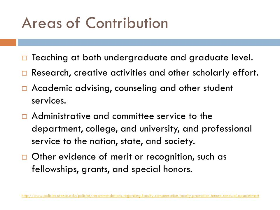 Areas of Contribution by Rank Tenured and Tenure-track faculty Evaluated on ALL areas of contribution.