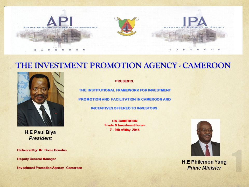 2 THE INVESTMENT PROMOTION AGENCY (I.P.A) IS : Para-statal Establishment with financial autonomy and legal personality.