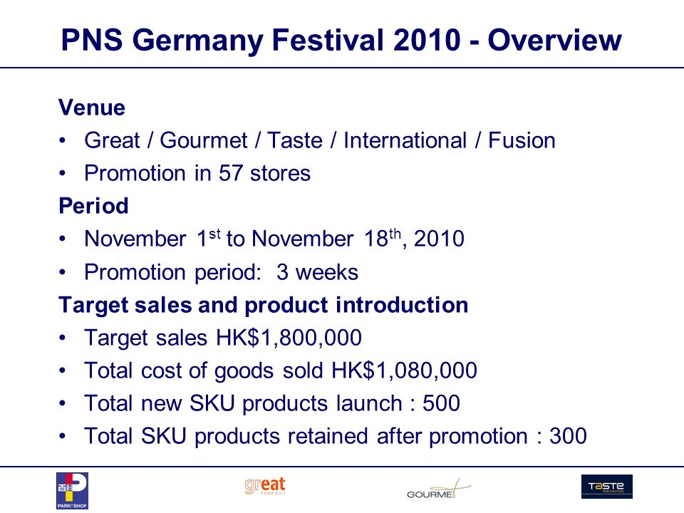PNS Germany Festival 2010 - Overview Venue Great / Gourmet / Taste / International / Fusion Promotion in 57 stores Period November 1 st to November 18 th, 2010 Promotion period: 3 weeks Target sales and product introduction Target sales HK$1,800,000 Total cost of goods sold HK$1,080,000 Total new SKU products launch : 500 Total SKU products retained after promotion : 300