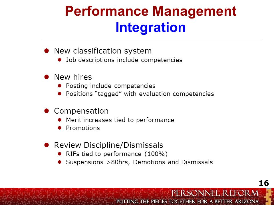 Performance Management Integration New classification system Job descriptions include competencies New hires Posting include competencies Positions ta