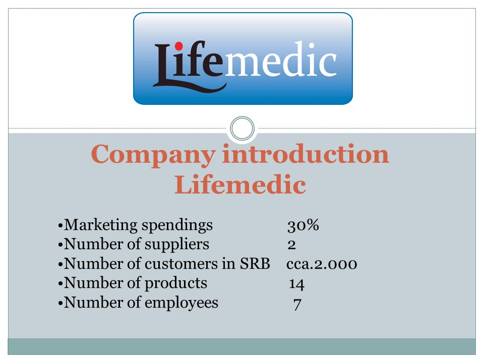 Company introduction Lifemedic Marketing spendings 30% Number of suppliers 2 Number of customers in SRB cca.2.000 Number of products 14 Number of employees 7
