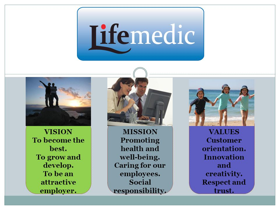 VISION To become the best. To grow and develop. To be an attractive employer.