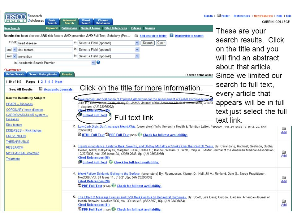 These are your search results. Click on the title and you will find an abstract about that article.