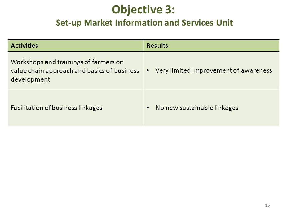 Objective 3: Set-up Market Information and Services Unit ActivitiesResults Workshops and trainings of farmers on value chain approach and basics of business development Very limited improvement of awareness Facilitation of business linkages No new sustainable linkages 15
