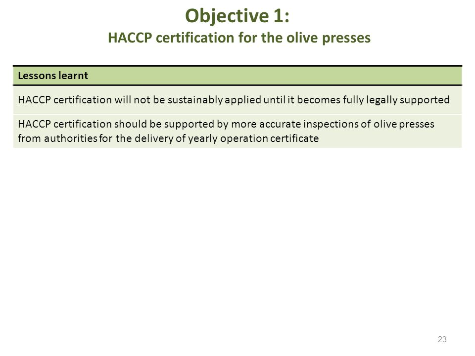 Objective 1: HACCP certification for the olive presses Lessons learnt HACCP certification will not be sustainably applied until it becomes fully legal
