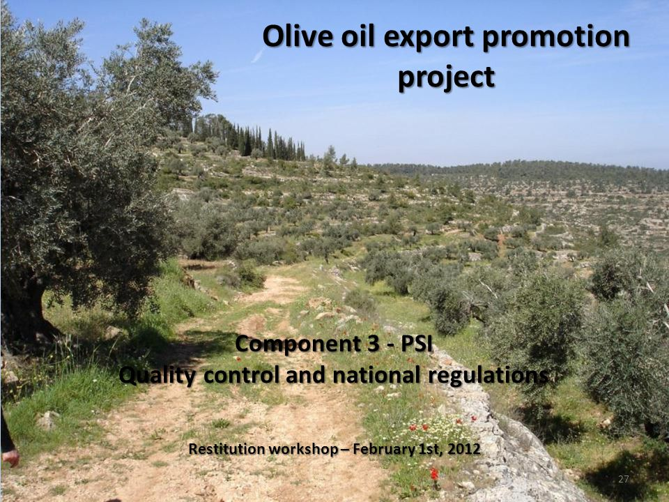 Restitution workshop – February 1st, 2012 27 Component 3 - PSI Quality control and national regulations Olive oil export promotion project