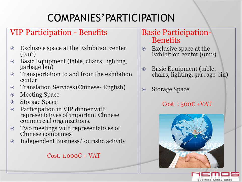 COMPANIESPARTICIPATION VIP Participation - Benefits Exclusive space at the Exhibition center (9m 2 ) Basic Equipment (table, chairs, lighting, garbage