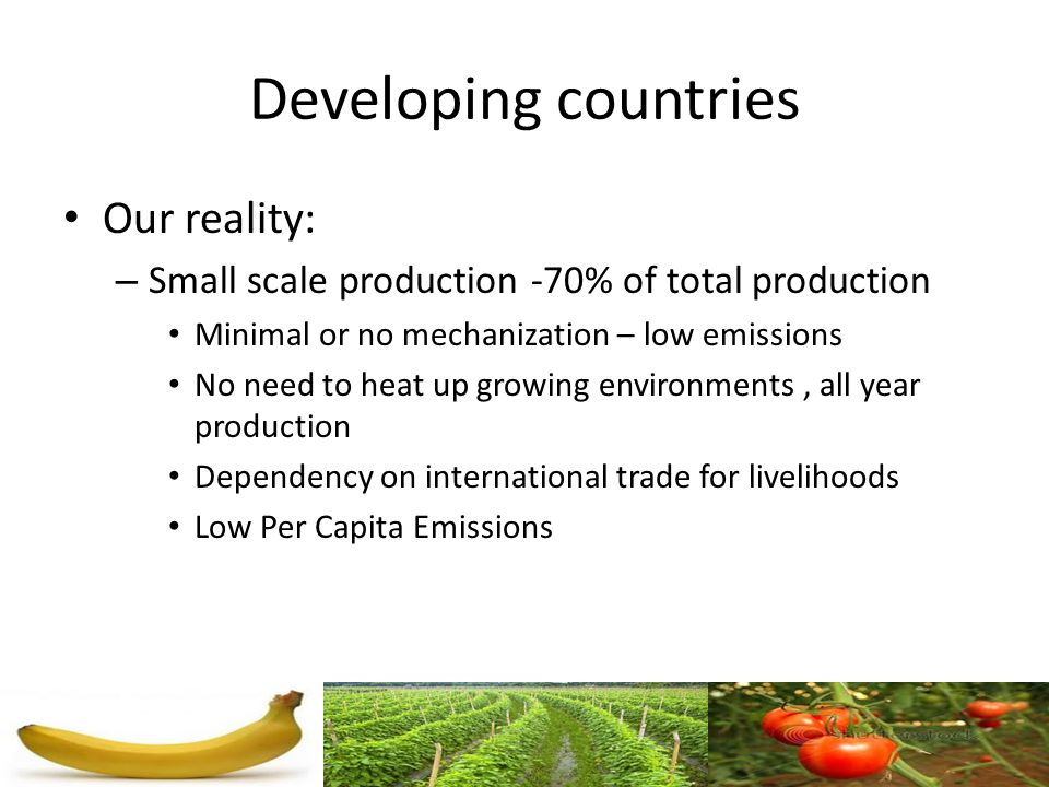Developing countries Our reality: – Small scale production -70% of total production Minimal or no mechanization – low emissions No need to heat up gro