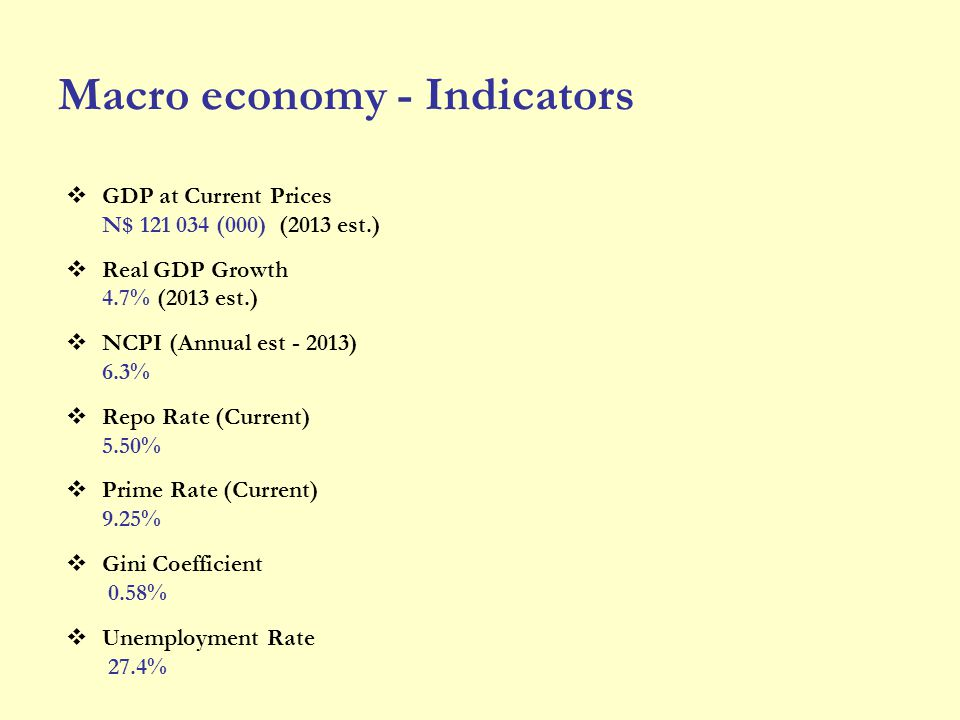 Macro economy - Indicators GDP at Current Prices N$ 121 034 (000) (2013 est.) Real GDP Growth 4.7% (2013 est.) NCPI (Annual est - 2013) 6.3% Repo Rate