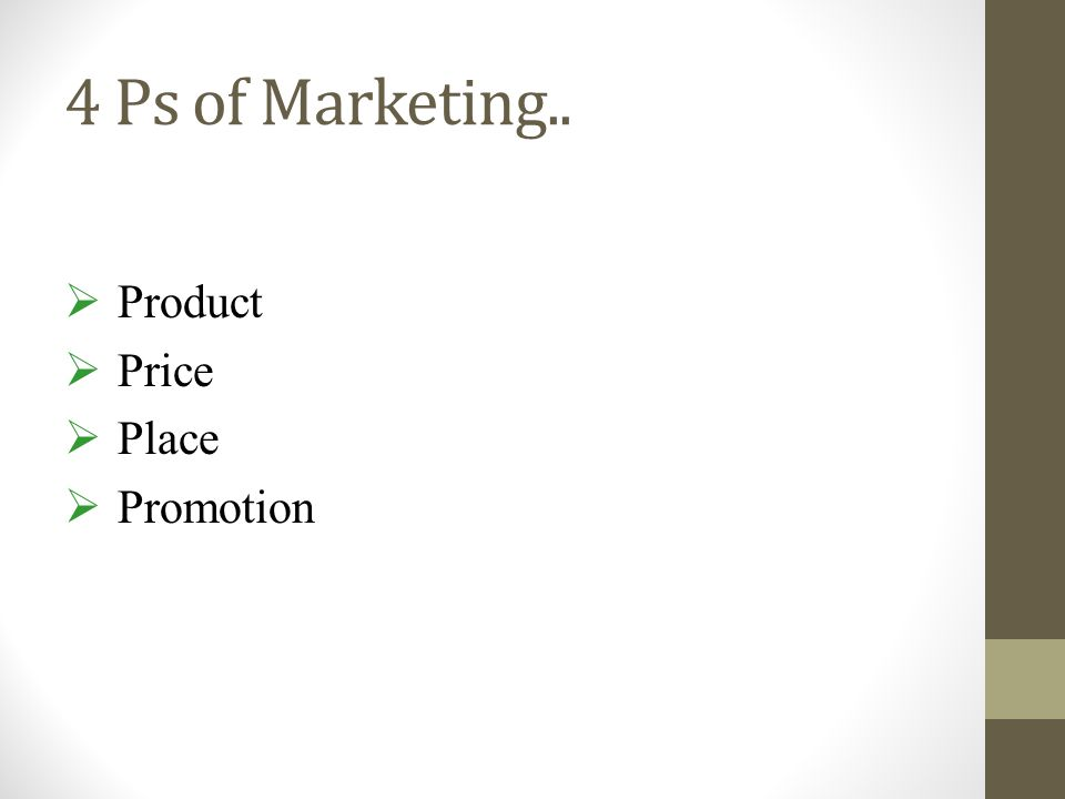 4 Ps of Marketing.. Product Price Place Promotion