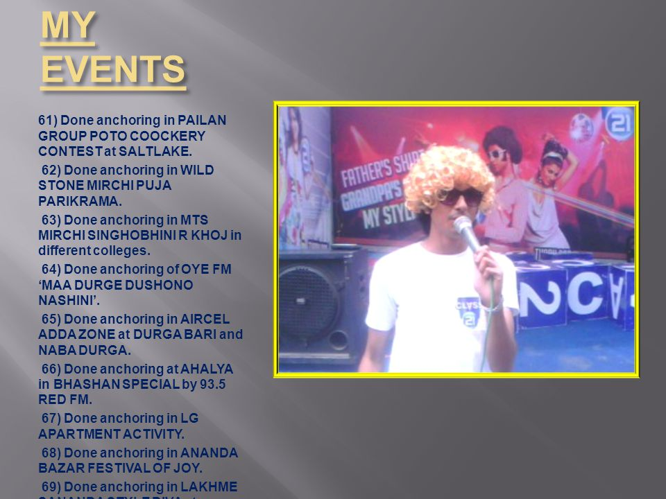 MY EVENTS 61) Done anchoring in PAILAN GROUP POTO COOCKERY CONTEST at SALTLAKE.