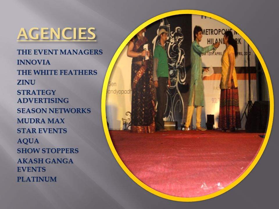 AGENCIES THE EVENT MANAGERS INNOVIA THE WHITE FEATHERS ZINU STRATEGY ADVERTISING SEASON NETWORKS MUDRA MAX STAR EVENTS AQUA SHOW STOPPERS AKASH GANGA EVENTS PLATINUM