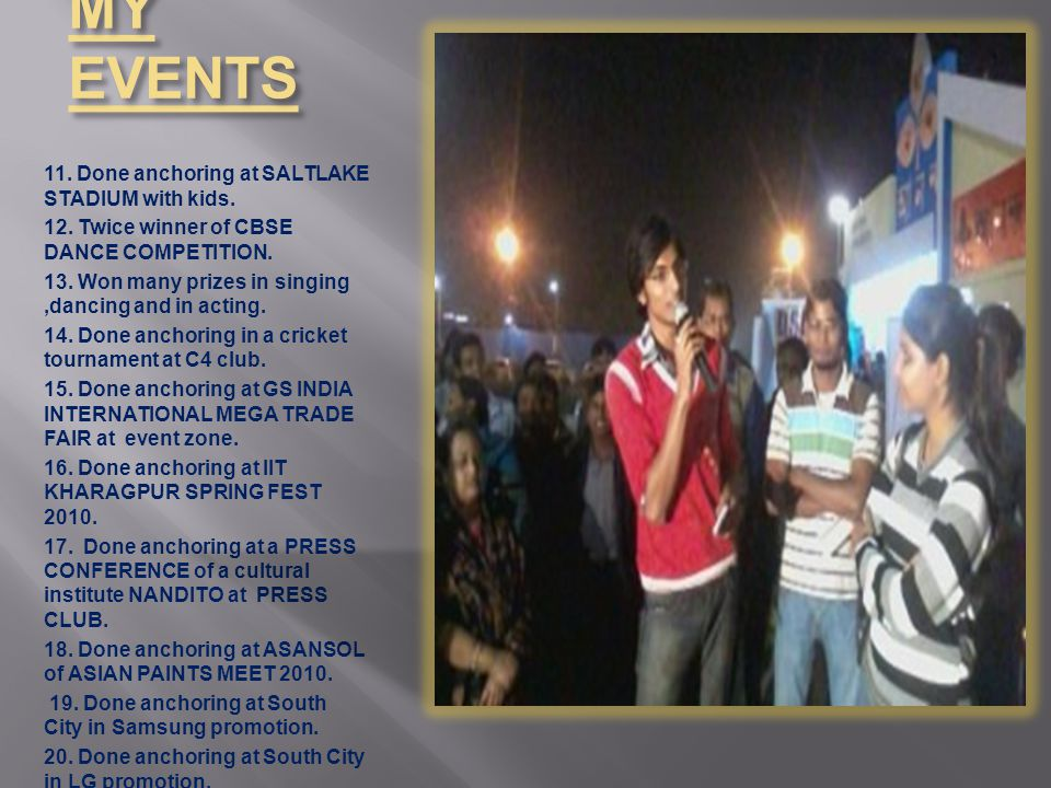 MY EVENTS 11. Done anchoring at SALTLAKE STADIUM with kids.
